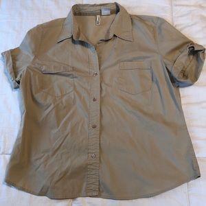 Khaki button up shirt St. John's Bay stretch xl